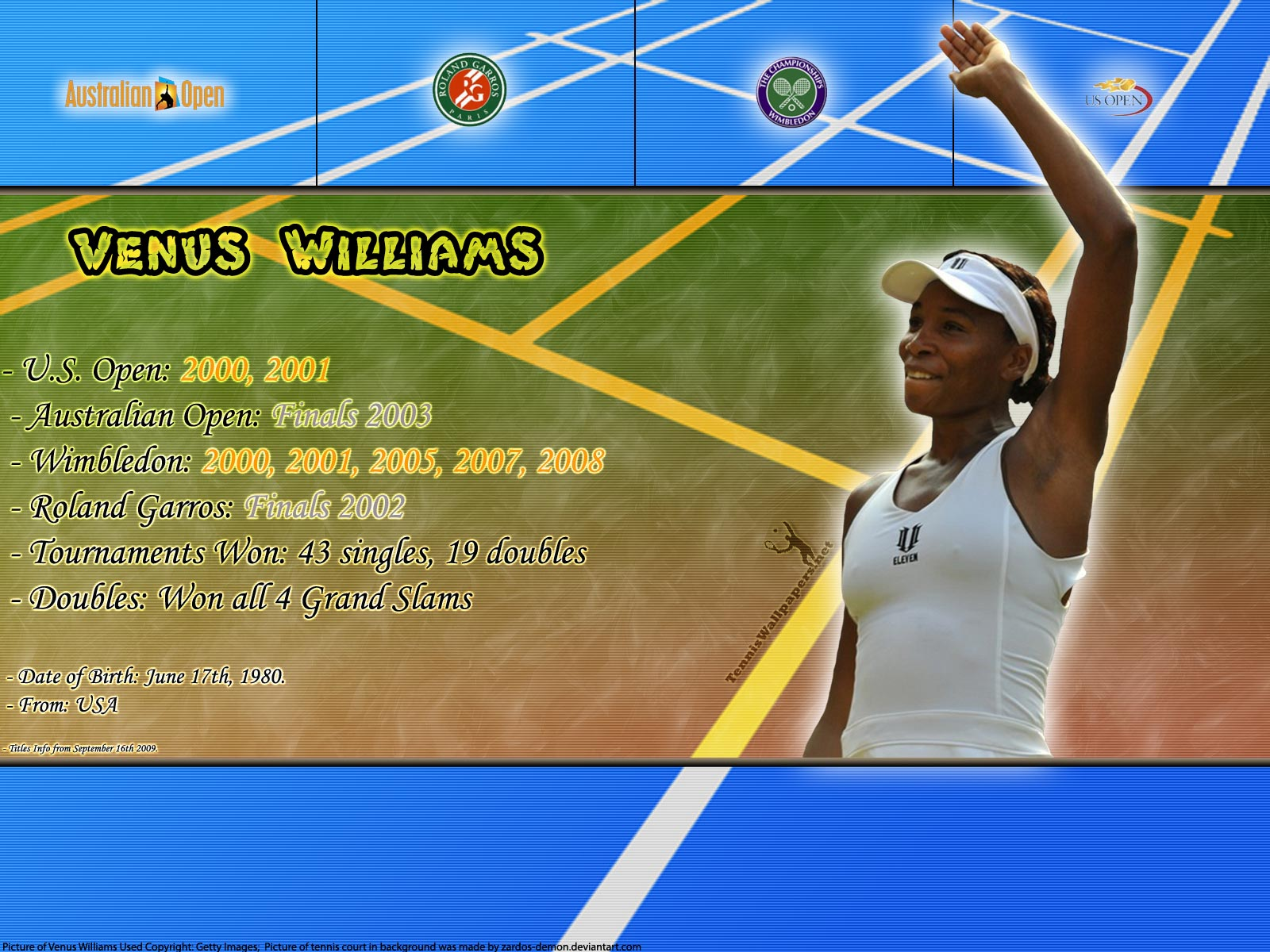 Venus Williams Titles Info